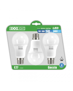 LAMPADINE ECOLIGHT LED E27 15W LUCE FREDDA CONFEZIONE 3PZ